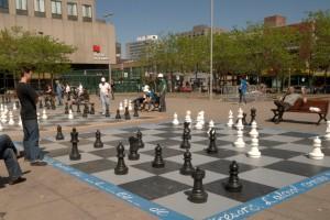 Xadrez gigante na praça