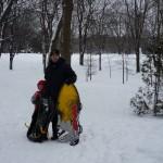 Família na neve