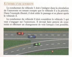 O texto diz que o carro 2 deve mudar de faixa como prova de cortesia