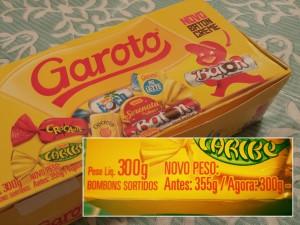 A caixa de chocolates que encolheu