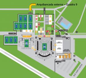 Localização da arquibancada externa